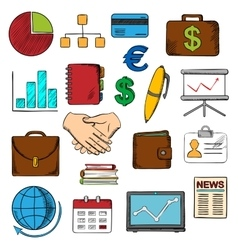Business finance and office icons vector image