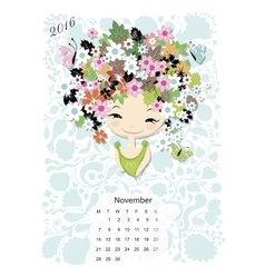 Calendar 2016 november month Season girls design vector