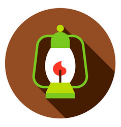 camping lantern circle icon vector image