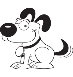 Cartoon dog wagging his tail vector