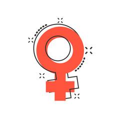 cartoon female sex symbol icon in comic style vector image