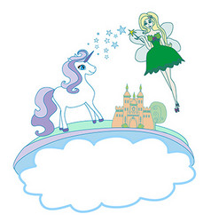 Castle unicorn and fairy - doodle vector