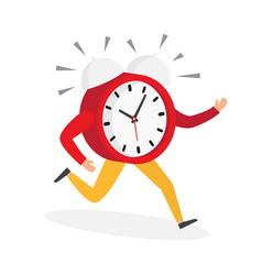 Character running alarm clock vector