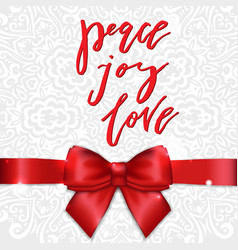 christmas greeting card with red satin bow and vector image