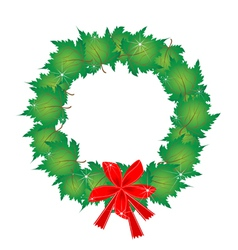 Christmas Wreath of Green Maple Leaves and Bows vector image