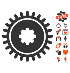 Cogwheel icon with dating bonus vector