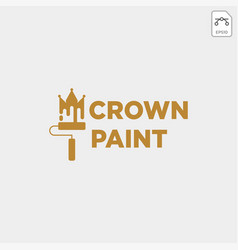Crown paint brush colorful logo template icon vector