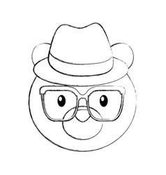 Cute bear forest animal with hat and glasses vector