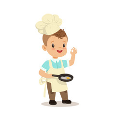 Cute little boy chef frying egg in a flying pan vector