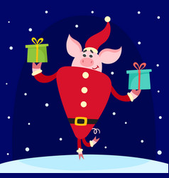 cute pig in santa costume with gifts isolated on vector image