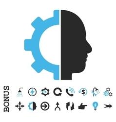 Cyborg Gear Flat Icon With Bonus vector