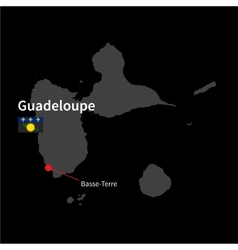Detailed map of Guadeloupe and capital city Basse vector image vector image