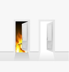 Doors to heaven and hell realistic 3d vector