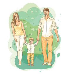 Family graphic color hand-drawn sketch vector
