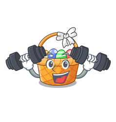 fitness easter basket ball in cartoon shape vector image