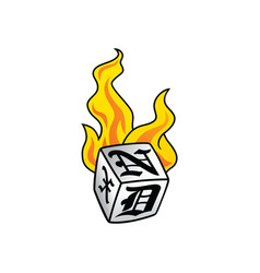 flaming on fire burning white dice risk taker vector image