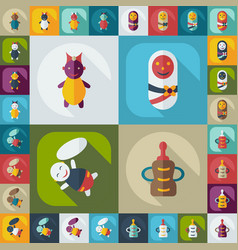 Flat concept set modern design with shadow babes vector