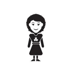 Flat icon in black and white irish girl vector