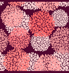 Floral seamless background in coral and burgundy vector