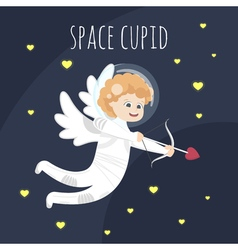 Funny little Valentine day cupid angel in space vector