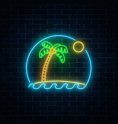 Glowing neon summer sign with palm sun island vector