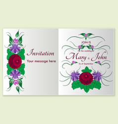 greeting card with stylized roses and floral vector image