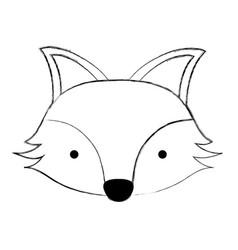 grunge cute fox head wild animal vector image