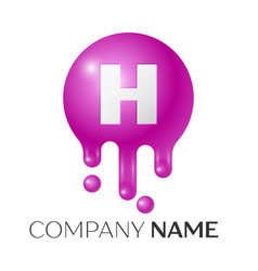 h letter splash logo purple dots and bubbles vector image