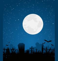 Halloween moon and graveyard vector