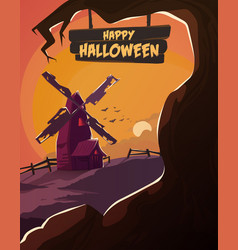 halloween poster spooky mill with dead trees vector image