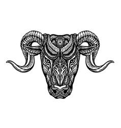 Hand drawn head ram ethnic patterns bull vector