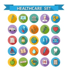 Health care doddle icons set in flat style with vector image