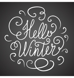 Hello winter hand lettering vector