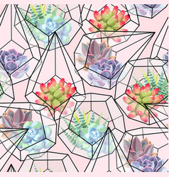 high detail succulent and cactus seamless pattern vector image