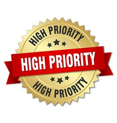High priority 3d gold badge with red ribbon vector
