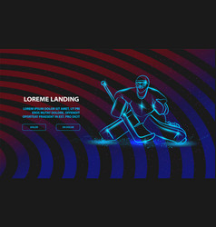 Hockey goalie positioning sport background vector