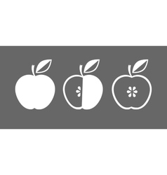 Icon of apple whole and in cross section vector
