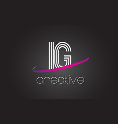Ig i q letter logo with lines design and purple vector