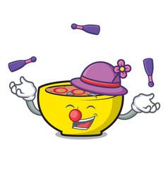 Juggling soup union mascot cartoon vector