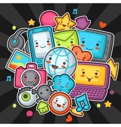 kawaii gadgets social network items doodles vector image