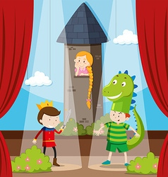 Kids doing role play on stage vector