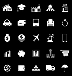 Loan icons on black background vector