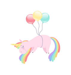 lovely unicorn flying with colorful balloons cute vector image