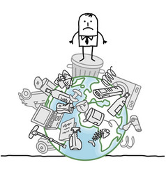 Man on a polluted world vector