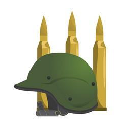 Military helmet and bullets design vector