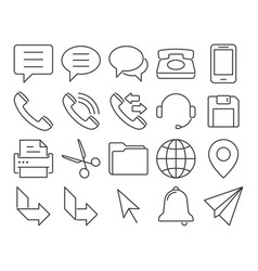 modern line style icons user interface set 3 vector image