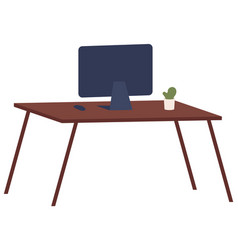 Monitor without wires on table isolated vector