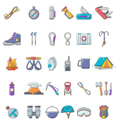 mountaineering equipment icons set cartoon style vector image