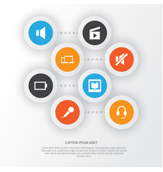 Multimedia icons set collection of devices empty vector