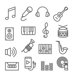 music line icons set on white background vector image